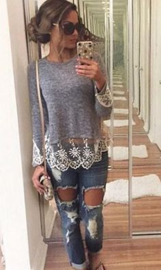 Women Long Sleeve Blouse Fashion Summer Top Casual Lace Shirts Tops O-neck Grey Women's Summer Fashion, Look Fashion, Fashion Outfits, Womens Fashion, Fashion Clothes, Casual Outfits, Cute Outfits, Vest Outfits, Clothing Sites