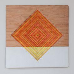 Modern Geometric Cross Stitch Wall Hanging Laser by stitchredux
