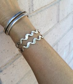 Image of SALE Double Wavy Line Cuff - Silver