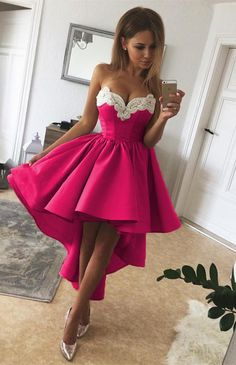 fuchsia satin high low prom dresses lace embroidery sweetheart dress for homecoming party
