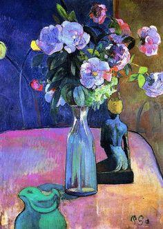 Paul Gauguin - Roses and Statuette, 1889. #arte