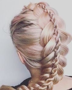 100 Ridiculously Awesome Braided Hairstyles: Stacked Dutch Braids - Hairstyles For All Unique Braided Hairstyles, Cool Braid Hairstyles, Pretty Hairstyles, Hairstyles 2018, Bridal Hairstyles, French Plait Hairstyles, Unique Braids, Braid Styles, Short Hair Styles