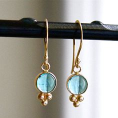 Gold and Apatite earrings. Gorgeous!