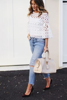 white lace top, levi's jeans, burgundy velvet pumps