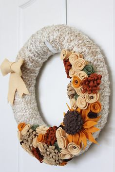 Autumn Fall Yarn Wreath with Handmade Felt Flowers | https://www.etsy.com/listing/163397424/reserved-fall-autumn-yarn-wreath-14-inch | #wreath #craft #falldecor