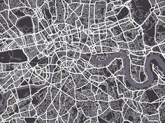street map of london black and white - Google Search
