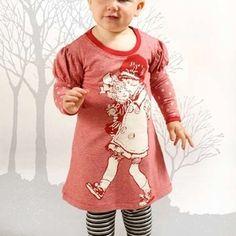 Little Wings Long Sleeve Puff Tee Dress Red