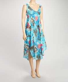 Look at this #zulilyfind! Lazy Daisy Blue Floral Empire Waist Sleeveless Dress by Lazy Daisy #zulilyfinds