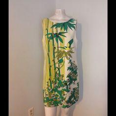 "Tibi Silk Sheath Dress Bamboo Fiji Birds Flowers 8 Beautiful tibi Sheath Dress! Linen/Silk/Elastane Blend with an acetate lining. Great condition. Chest 37"" Hips 41"" Length 33"" Tibi Dresses"