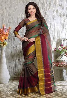 Buy Brown and Maroon printed cotton saree With Blouse with 25% off.