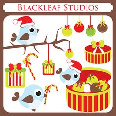 Christmas Birds and Ornaments  birds winter by blackleafdesign, $5.00