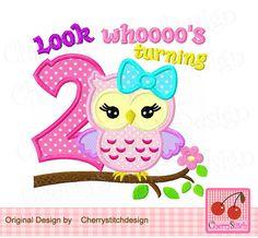 Look whoooo's turning 2Cute owl with bowMy от CherryStitchDesign
