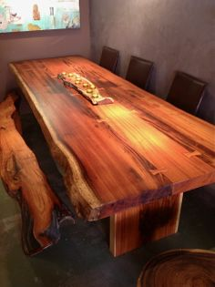 Discover thousands of images about Live-edge-dining-table-sequoia-santa-fe: Live Edge Furniture, Log Furniture, Woodworking Furniture, Woodworking Projects, Furniture Design, Woodworking Tools, Woodworking Articles, Intarsia Woodworking, Woodworking Workshop