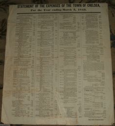Original 1845 Broadside of a Statement of Expenses of the Town of Chelsea, Mass