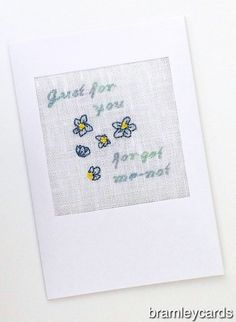 Just For You...Daughters Birthday...Retirement Forget-Me-Not Cross Stitch Card £4.00 Cross Stitch Cards, Daughter Birthday, Forget Me Not, Blank Cards, Retirement, Gift Guide, Bee, Just For You, Colours