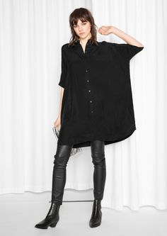 & Other Stories image 2 of Oversized Shirt Dress in Black Cupro