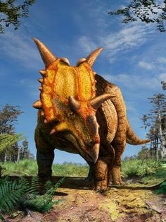 Recontrução artística mostra como seria a nova espécie de dinossauro descoberto no Canadá. Foto: Julius T. Csotonyi/Divulgação
