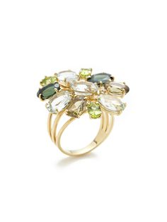 Green Multi Floral Cluster Ring by Vianna 18K yellow gold and round cut diamond multi-band ring with oval cut green tourmaline, prasiolite, peridot, and olive green quartz floral cluster details  Total green tourmaline, prasiolite, peridot, and olive green quartz carat weight is 13.80 Total diamond carat weight is 0.04 Diamond color is I-J / SI2-I
