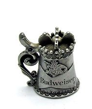 1981 Signed Nicholas Gish Budweiser beer stain pewter thimble lid opens