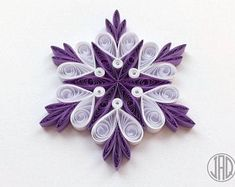 Quilled Star Snowflake Crystal Mandala Holiday Christmas Decoration Ornament Paper Handmade Festive Gift Present Favor WallArt Corporate Neli Quilling, Paper Quilling Patterns, Quilling Paper Craft, Quilling Designs, Paper Crafts, Handmade Ornaments, Handmade Art, Handmade Christmas, Quilling Christmas