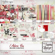 I Adore You BundE by Designs by Laura Burger.  . Includes: 8 different journaling items, 14 solid paper, 12 pattern papers, 16 gradient papers, 50 elements, stamp set and word art. On sale at 30% off. Some packs are also available separately like the Kit   https://www.pickleberrypop.com/shop/manufacturers.php?manufacturerid=97