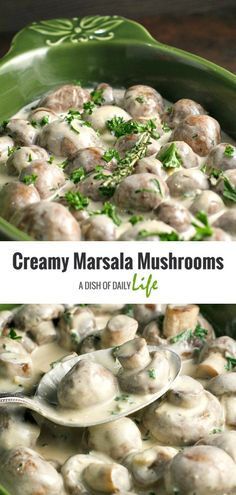 Creamy Marsala Mushrooms are the perfect appetizer for a holiday party, special occasion, or even a romantic dinner! You can also serve them as a side dish. Healthy Side Dishes, Side Dish Recipes, Healthy Foods, Great Appetizers, Appetizer Recipes, Marsala Mushrooms, Sauces, Stuffed Mushrooms, Stuffed Peppers