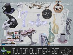 Cluttery Set for the Tulton Series. The set contains 18 new decorative objects:  Found in TSR Category 'Sims 4 Decorative Sets'
