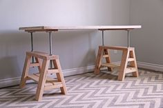 How to build an adjustable sawhorse desk coffee table | DIY projects for everyone!