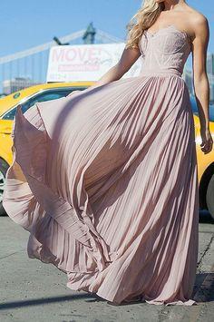 Gorgeous pink chiffon dress! Prom dress goals