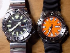 WATCH AND CLOCK COLLECTION: Seiko Black & Orange Monster / SKX779  &  SRP309