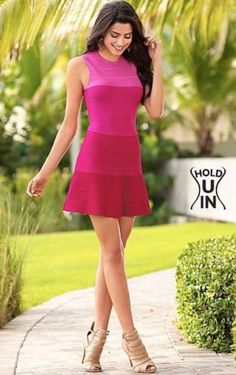 c9dfab3bd16 New Venus Womens Hold You In Slimming Bandage Ombre Flare Summer Dress Sz L  Pink
