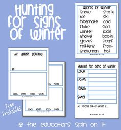 Looking for Signs of Winter at After School Express includes free printable of Winter Observation Sheet and Winter Journal from The Educators' Spin On It