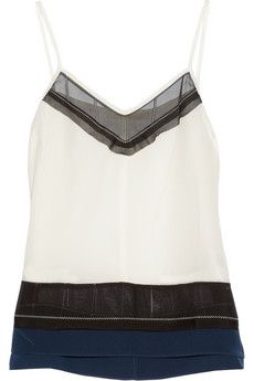 Jonathan Simkhai Paneled washed-silk tank | THE OUTNET