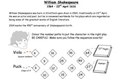 Share: Title: Shakespeare Themed Activity Description: Use a timeline to sequence events.during Shakespeare's lifetime. Many words we use today were invented by Shakespeare. Practise your cod… Primary Maths, Primary School, Number Sequence, Shakespeare Plays, English Literature, Great Words, Numeracy, Teaching, Education
