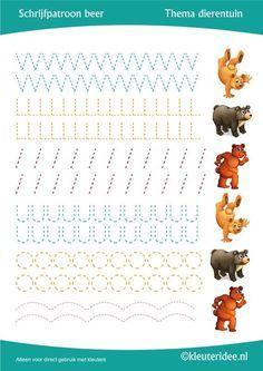 Schrijfpatroon beer,  thema dierentuin, juf Petra van Kleuteridee, preschool bear writing pattern, free printable.