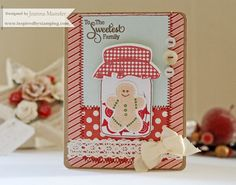 Inspired by Stamping, Joanna Munster, Sugar and Spice stamp set, Mason Jars stamp set, IBS White crochet tape, Christmas card, gingerbread man card