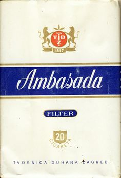 <b>Ambasada Filter 20 Cigareta Tvornica Duhana Zagreb (design 1)</b><br><br><i>Sold in</i> USSR <br><i>Made in</i> Yugoslavia in ? year <br><i>Producer</i>: Tvornica Duhana Zagreb<br><i>Trade Mark Owner</i>: Tvornica Duhana Zagreb<br><i>Size height/width/depth (mm)</i>: 83/54/20<br><i>Open type</i>: v<br><i>Condition</i>: Full<br><b>DOUBLES AVALIABLE</b>: NO