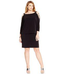 Betsy & Adam Plus Size Cold-Shoulder Embellished Blouson Dress - Dresses - Women - Macy's