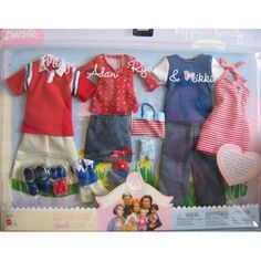 Happy Family Fashions - Red & Blue Fashion Clothes for Midge, Alan, Ryan & Nikki Dolls Barbie Kids, Barbie Doll Set, Barbie Doll House, Mattel Barbie, Barbie And Ken, Boy Doll Clothes, Barbie Clothes, Barbie Outfits, Project Mc2 Dolls