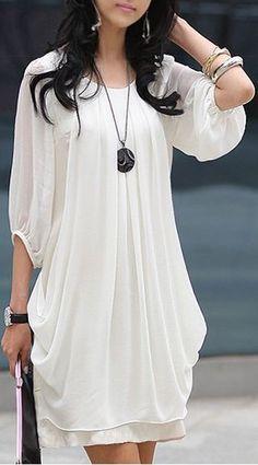 White Plain Pleated Belt Elbow Sleeve Chiffon Mini Dress
