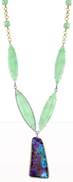 Irene Neuwirth Mint Chrysoprase, Boulder Opal & Diamond Necklace. Barney's. ♥✤ | Keep the Glamour | BeStayBeautiful