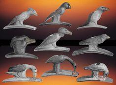 Nine bird effigy Hopewell pipes from Mound City site, Ohio.