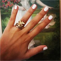 Love the rings and white polish