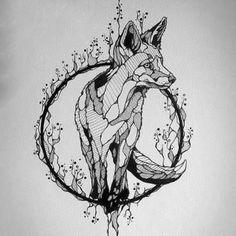 Best Geometric Tattoo - Beautiful Fox Tattoo Design... Check more at http://tattooviral.com/tattoo-designs/geometric-designs/geometric-tattoo-beautiful-fox-tattoo-design/