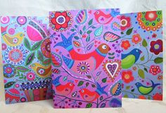 Whimsical Folk Art Notecards - Set Of Three - Blank