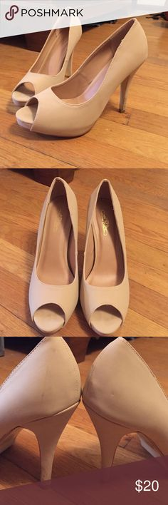 Nude pumps. Worn only once. In great condition!  They say 7 1/2, but they were a little big on me. I would recommend these for a size 8.   Slight smudges on the back of the shoes, but might be able to be cleaned. These shoes are a super soft leathery/ suede material (don't really know how to describe it). Journee Collection Shoes Heels
