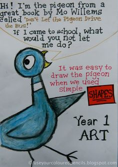 Mo Willems Use Your Coloured Pencils: Don't Let The Pigeon. Art lesson with step by step how to draw the Pigeon by Mo Willems. Kindergarten Art Lessons, Art Lessons Elementary, Kindergarten Substitute Activities, Preschool, Library Art, Library Lessons, Pigeon Books, First Grade Art, Second Grade