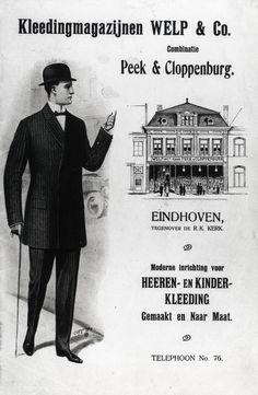 Reclame van Kleedingmagazijnen Welp & Co. Combinatie Peek & Cloppenburg, Eindhoven: een tekening van het winkelpand en een heer in kostuum