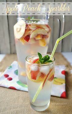 Low calorie, healthier choice with this Apple Peach Sparkler to quench your thirst on hot days.