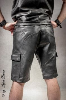 Leder-Fashion24 - Leather Shorts, Cargo, black